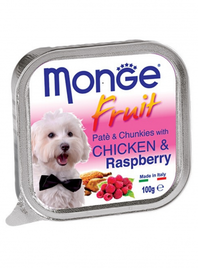 Monge  Fruits Pate & Chunk With Chicken & Raspberry 100g