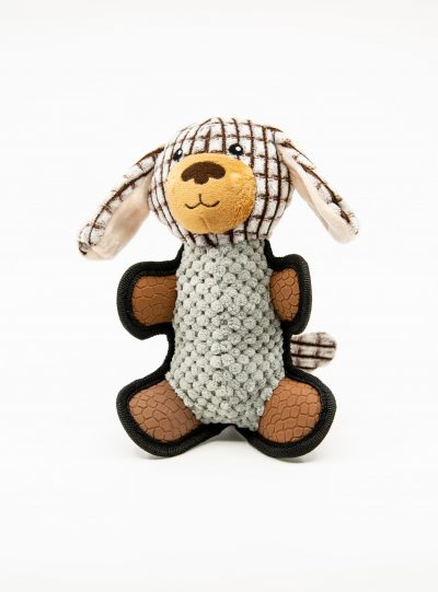 Checkered Squeaky Bear - Dog Toy
